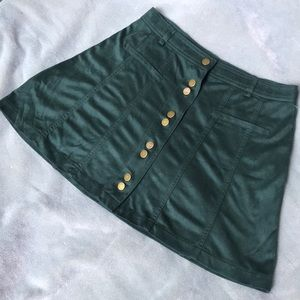 ZARA Forest Green Faux Suede Skater Skirt